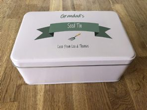 PERSONALISED GRANDAD'S Seeds Tin Gardening Present ANY NAME Grandpa Pops Bampy